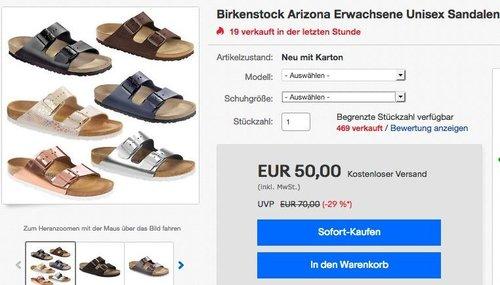 Birkenstock Arizona Erwachsene Unisex Sandalen - jetzt 17% billiger