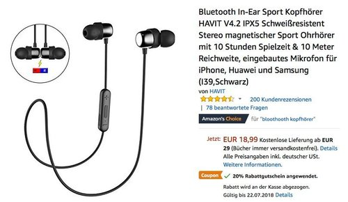 Bluetooth In-Ear Sport Kopfhörer HAVIT V4.2 IPX5 Schweißresistent - jetzt 20% billiger