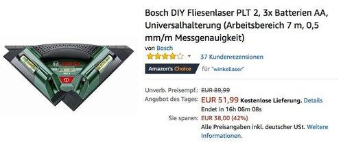 Bosch DIY Fliesenlaser PLT 2 - jetzt 29% billiger