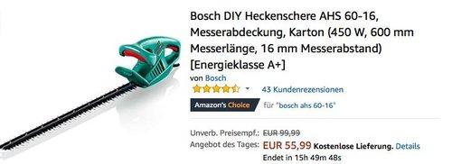 Bosch DIY Heckenschere AHS 60-16 - jetzt 35% billiger