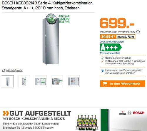 BOSCH KGE392I4B Serie 4  Kühlgefrierkombination + 12 BECK'S Sixpacks (0,33 l) gratis dazu - jetzt 5% billiger