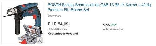 BOSCH Schlag-Bohrmaschine GSB 13 RE im Karton + 49 tlg. Premium Bit- Bohrer-Set - jetzt 29% billiger
