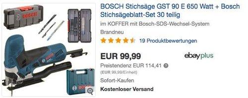 BOSCH Stichsäge GST 90 E 650 Watt + Bosch Stichsägeblatt-Set 30 teilig - jetzt 14% billiger