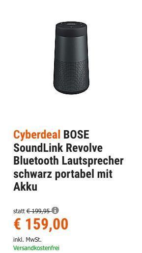 BOSE SoundLink Revolve Bluetooth Lautsprecher - jetzt 8% billiger