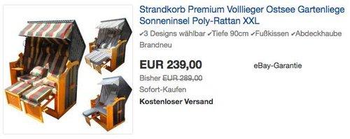 Brast Strandkorb Premium Volllieger - jetzt 11% billiger