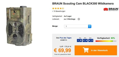 BRAUN Scouting Cam BLACK300 Wildkamera - jetzt 16% billiger