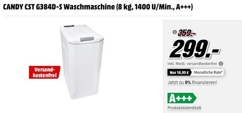 CANDY CST G384D-S Waschmaschine - jetzt 17% billiger