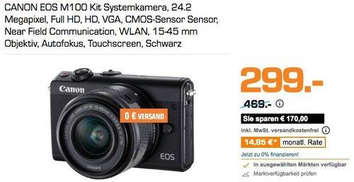 CANON EOS M100 Kit Systemkamera, 24.2 Megapixel schwarz - jetzt 33% billiger