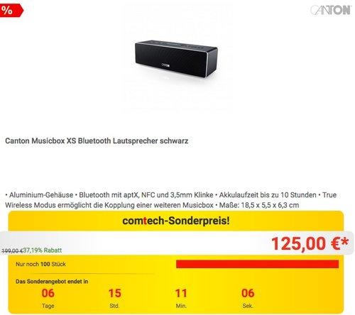 Canton Musicbox XS Bluetooth Lautsprecher in Schwarz - jetzt 10% billiger