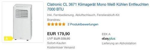 Clatronic CL 3671 Klimagerät Mono Weiß - jetzt 16% billiger