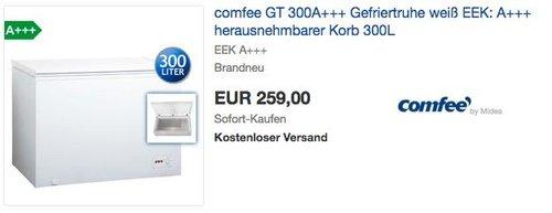 Comfee GT 300 A+++ Gefriertruhe - jetzt 10% billiger