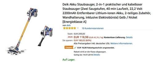 Deik VC-1606 Akku-Staubsauger,  2-in-1 kabelloser Staubsauger - jetzt 8% billiger