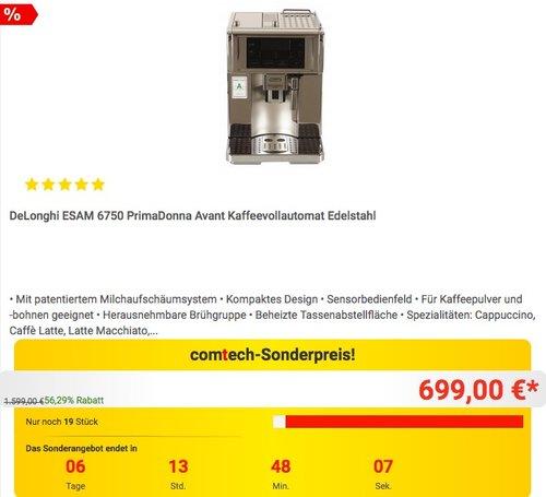 DeLonghi ESAM 6750 PrimaDonna Avant Kaffeevollautomat Edelstahl - jetzt 9% billiger