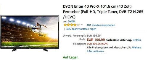 DYON Enter 40 Pro-X 101,6 cm (40 Zoll) Fernseher - jetzt 16% billiger