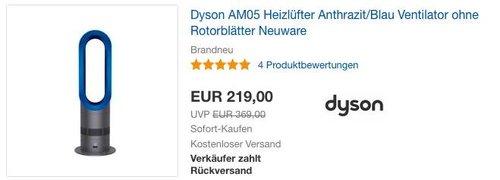 Dyson AM05 Heizlüfter/Ventilator Anthrazit/Blau - jetzt 13% billiger