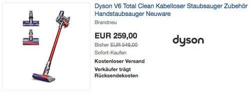 Dyson V6 Total Clean Kabelloser Staubsauger - jetzt 13% billiger