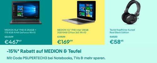 eBay 15% Rabat auf Medion und Teufel: z.B. Teufel Kopfhörer Aureol Real Black Edition - jetzt 15% billiger