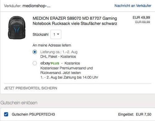eBay 15% Rabat auf Medion und Teufel: z.B. MEDION ERAZER S89070 Gaming-Rucksack - jetzt 15% billiger