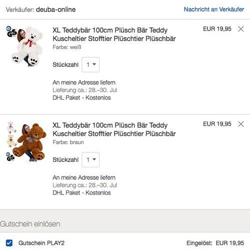 eBay 2.Artikel Gratis -Aktion: z.B. 2x Teddy Bär Plüschbär Kuscheltier XL - jetzt 50% billiger