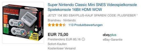 eBay Plus-Mitglieder-Aktion 15€ Rabatt ab 50€ MBW: z.B. Super Nintendo Classic Mini SNES Videospielkonsole - jetzt 20% billiger