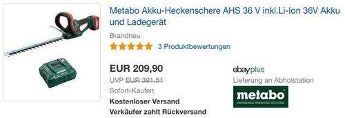 eBay Metabo-Aktion: z.B. Metabo Akku-Heckenschere AHS 36 V inkl.Li-Ion 36V Akku und Ladegerät - jetzt 15% billiger