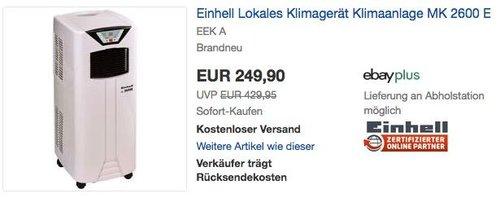 Einhell Lokales Klimagerät Klimaanlage MK 2600 E - jetzt 10% billiger