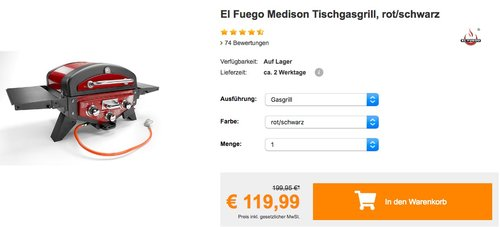El Fuego Medison Tischgasgrill, rot/schwarz - jetzt 14% billiger
