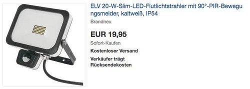 ELV 20-W-Slim-LED-Flutlichtstrahler mit 90°-PIR-Bewegungsmelder - jetzt 20% billiger