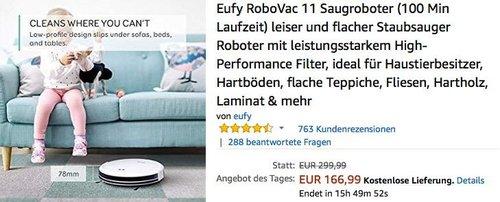Eufy RoboVac 11 Saugroboter in Weiß - jetzt 13% billiger