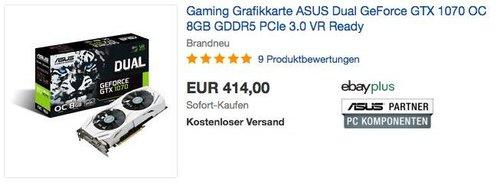 Gaming Grafikkarte ASUS Dual GeForce GTX 1070 OC 8GB - jetzt 10% billiger