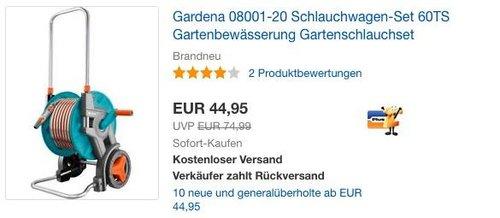 Gardena 08001-20 Schlauchwagen-Set - jetzt 25% billiger