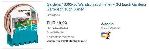 Gardena 18005-50 Wandschlauchhalter + 20 m Schlauch - jetzt 39% billiger