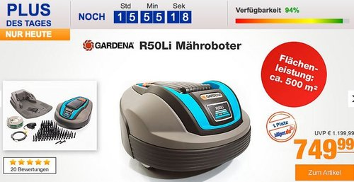 Gardena R50Li Mähroboter bis zu max. 500 m² - jetzt 10% billiger