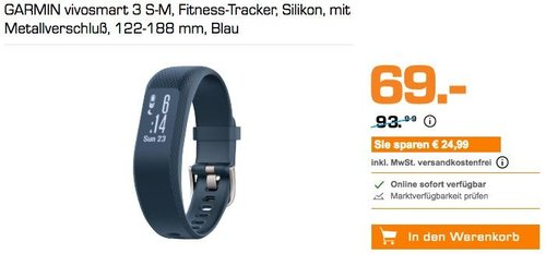 GARMIN vivosmart 3 S-M Fitness-Tracker blau - jetzt 27% billiger