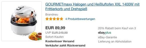 GOURMETmaxx Halogen und Heißluftofen XXL in Weiß - jetzt 10% billiger