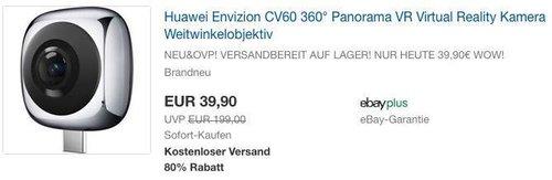 Huawei Envizion CV60 360° Panorama VR Virtual Reality Kamera - jetzt 33% billiger