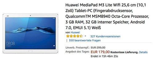 Huawei MediaPad M3 Lite Wifi 25,6 cm (10,1 Zoll) Tablet-PC in Weiß - jetzt 22% billiger