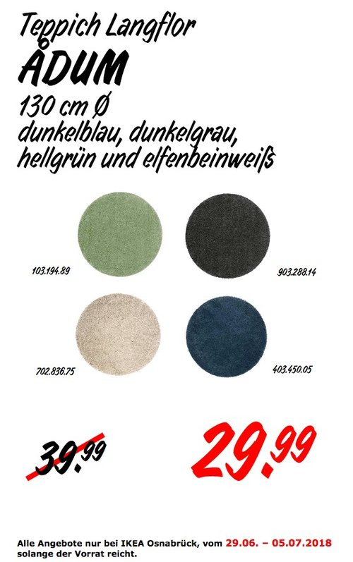 IKEA ADUM Teppich Langflor - jetzt 25% billiger