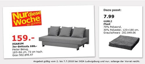 IKEA ASARUM 3er-Bettsofa - jetzt 20% billiger