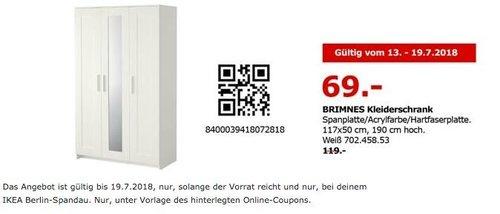 IKEA Berlin-Spandau BRIMNES Kleiderschrank 117x50 cm, 190 cm hoch - jetzt 42% billiger