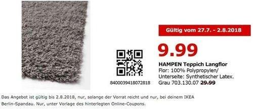 IKEA Berlin-Spandau HAMPEN Teppich Langflor, 133x195 cm, grau - jetzt 67% billiger