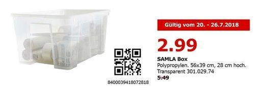 IKEA Berlin-Spandau SALMA Box, 56x39 cm, 28 cm hoch. Transparent - jetzt 46% billiger