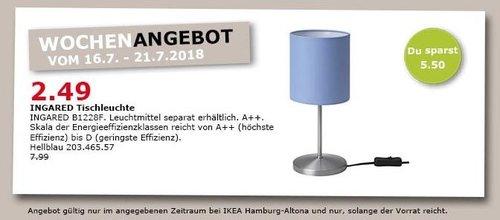 IKEA Hamburg-Altona INGARED Tischleuchte, hellblau - jetzt 69% billiger