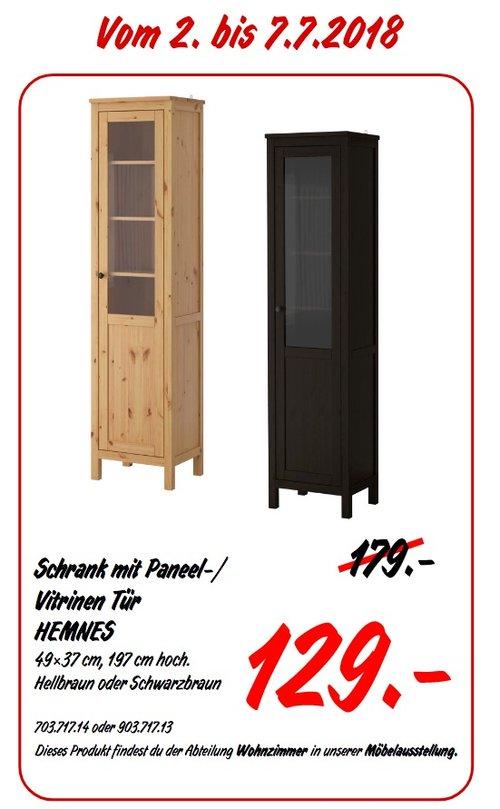 IKEA HEMNES Schrank mit Paneel-/ Vitrinen Tür - jetzt 28% billiger