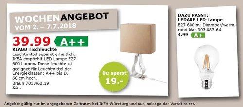 IKEA KLABB Tischleuchte - jetzt 32% billiger