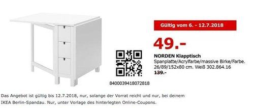 IKEA NORDEN Klapptisch - jetzt 65% billiger
