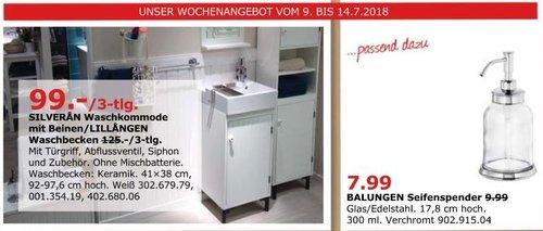 IKEA SILVERAN Waschkommode mit Beinen/LILLANGEN Waschbecken - jetzt 21% billiger