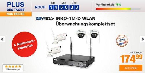 Inkovideo INKO-1M-D Komplettset 4-Kanal Netzwerkrekorder und 4 x HD Überwachungskameras - jetzt 8% billiger