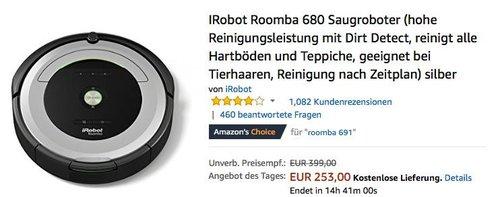 iRobot Roomba 680 Saugroboter silber - jetzt 23% billiger