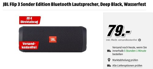 JBL Flip 3 Sonder Edition Bluetooth Lautsprecher, Deep Black - jetzt 25% billiger